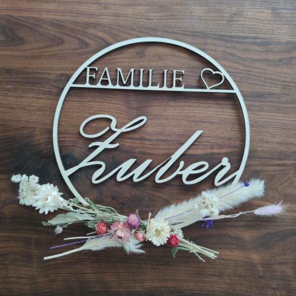 Türschild Familie mit Herz